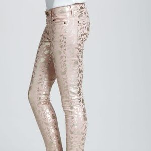 7 For all Mankind pink and metallic gold jean